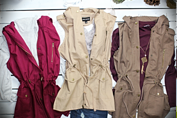 Cargo Vest With Hoodie 6 Fall Colors Fashion 99 Cent Shipping
