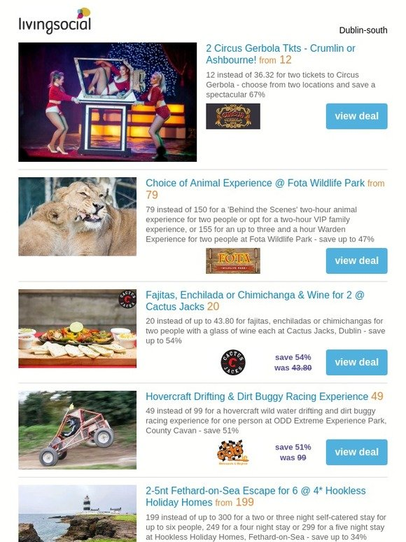 LivingSocial - Ireland: Deals for you: 2 Circus Gerbola Tkts