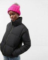 zip front short puffer coat