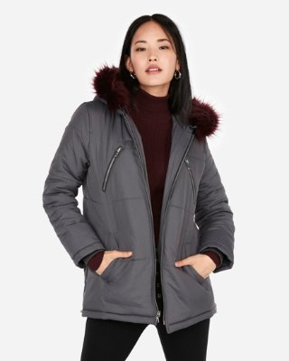 elongated side zip puffer coat