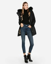 detachable vest faux leopard fur anorak