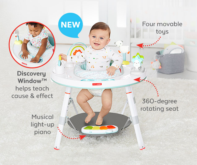 New | Four movable toys | 360–degree rotating seat | Musical light–up piano | Discovery Window™ helps teach cause & effect