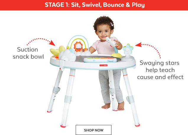 Stage 1: Sit, Swivel, Bounce & Play | Suction snack bowl | Swaying stars help teach cause and effect | Shop Now