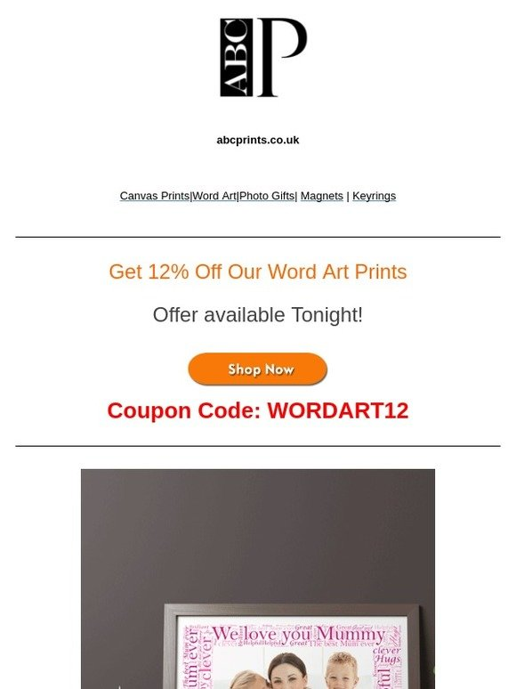 Abc Prints Get 12 Off Our Word Art Prints Milled