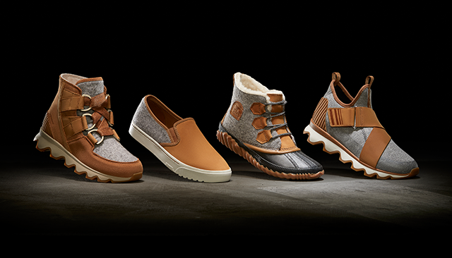 Image of four different SOREL shoes with felt fabric on an urban background