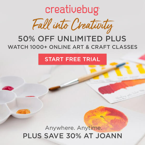 Learn With CreativeBug 50% off Unlimited Plus Subscription.