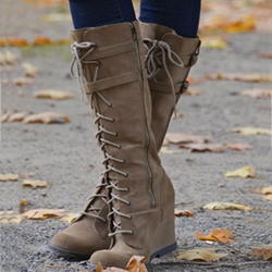 1c384642931 Shoespie Casual Lace-Up Wedge Knee High Boots