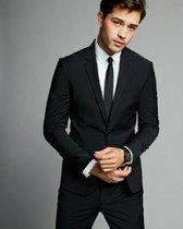 extra slim black performance stretch wool-blend suit jacket