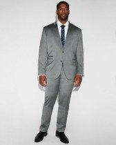 slim gray wool blend oxford suit pant