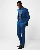 extra slim blue cotton sateen stretch suit pant
