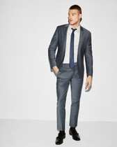 extra slim blue performance stretch wool-blend suit pant