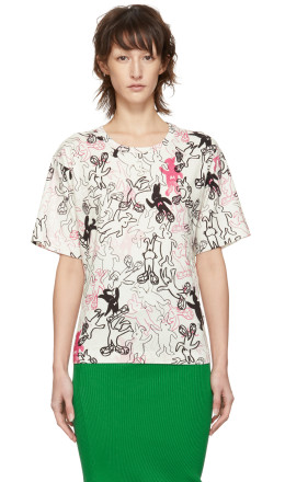 Marni Dance Bunny - White & Multicolor Bunny Printed T-Shirt