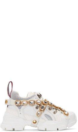 Gucci - White Crystal Flashtrek Sneakers