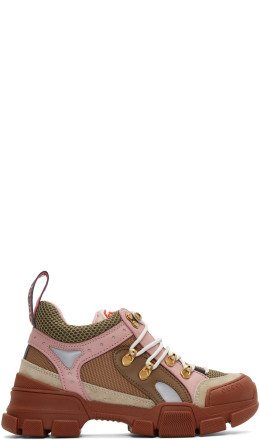 Gucci - Brown & Pink Flashtrek Sneakers