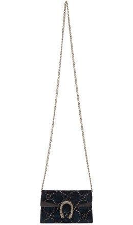 Gucci - Blue Velvet Supermini Dionysus GG Wallet Chain Bag