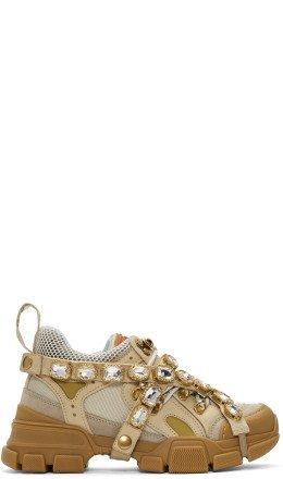 Gucci - Beige Crystal Flashtrek Sneakers
