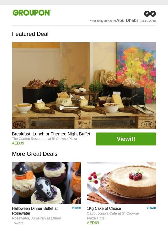 Groupon Ae Breakfast Lunch Or Themed Night Buffet Halloween Dinner Buffet At Rosewater 1kg Cake Of Choice Aed 100 To Spend On Food And Drinks Milled