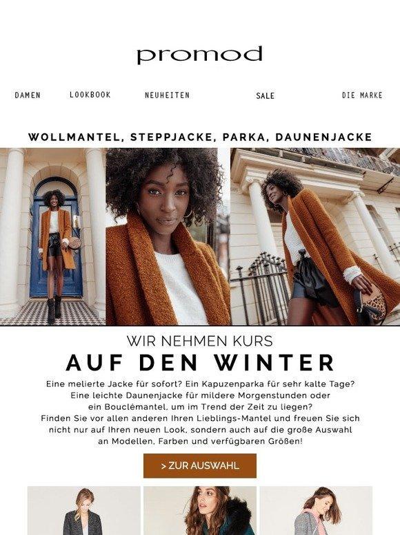 Lange Daunenjacke mit Kapuze Schwarz Damen Mäntel Promod