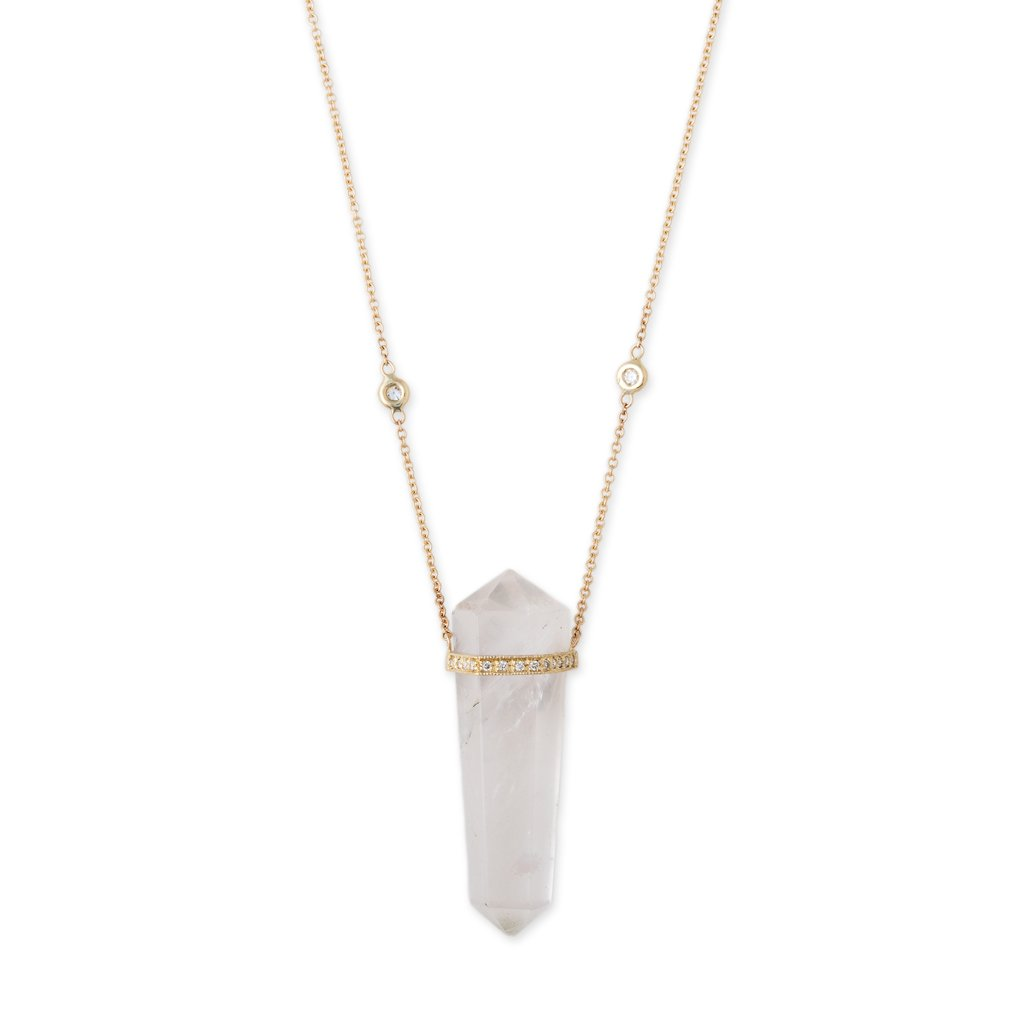 Image of QUARTZ CRYSTAL DOUBLE POINT NECKLACE