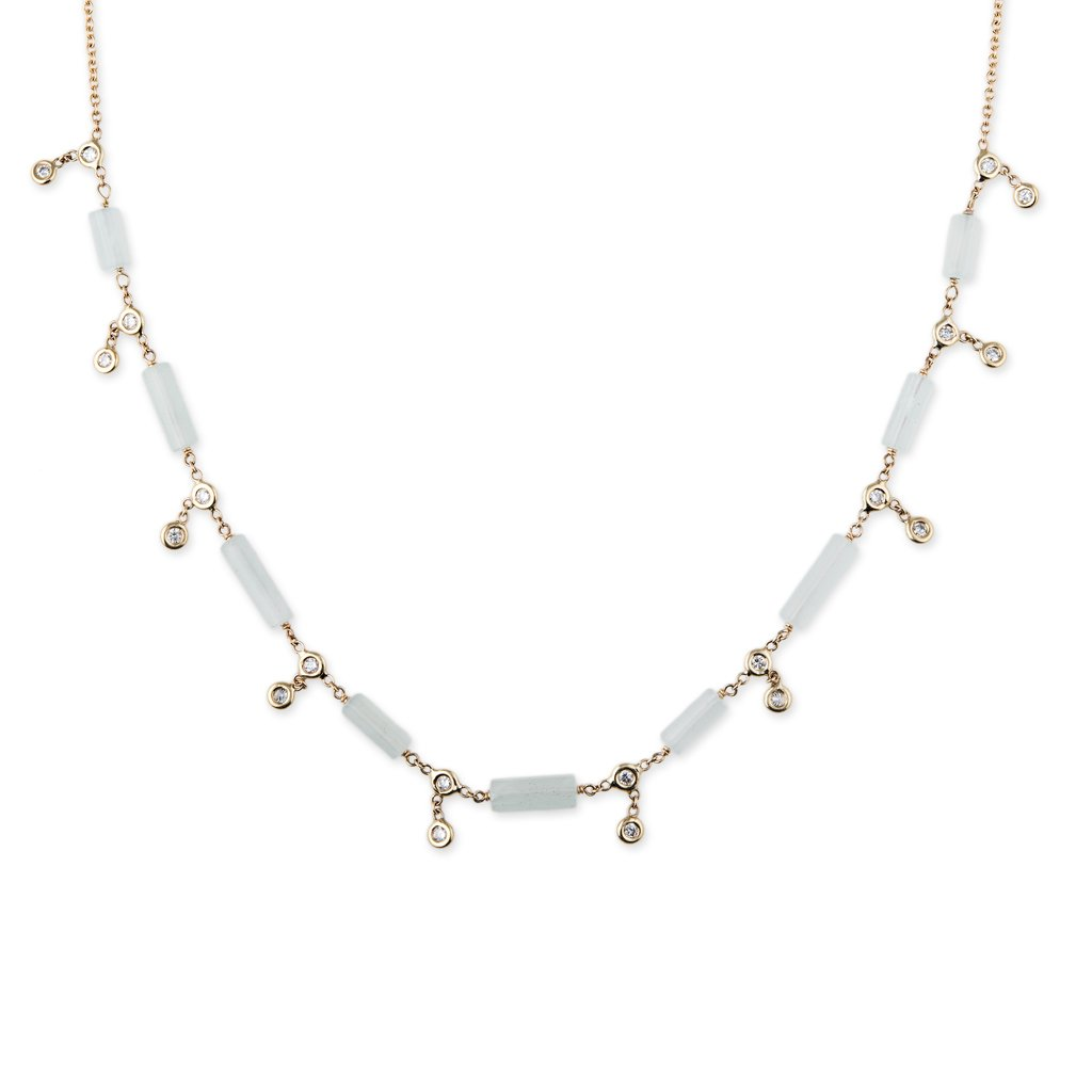Image of DIAMOND + AQUAMARINE BAR SHAKER NECKLACE