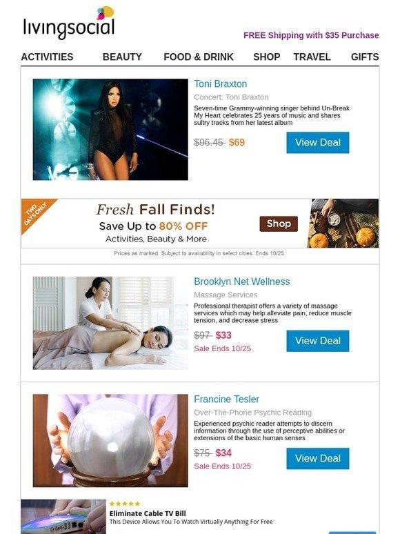 LivingSocial: Concert: Toni Braxton + Fall Sale! | Milled