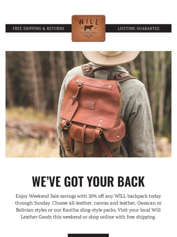 Will Leather Goods: 20% Off WILL Backpacks - 3 Days Only