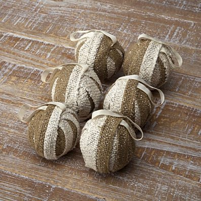 Seasonal Decor Shimmer Burlap Creme and Natural Tan Ornament Set of 6