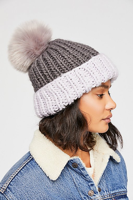 Summit Color Block Pom Beanie