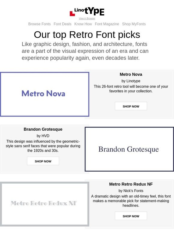 Linotype: Retro fonts to meet your modern design needs | Milled