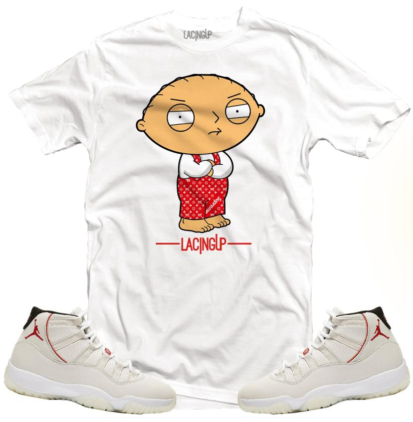 1f65e5f6ec12bf Jordan 11 platinum tint stewie griffin white tee-Lacing Up