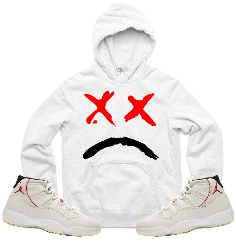f50309896e3558 Jordan 11 platinum tint sad face white hoodie-Lacing Up