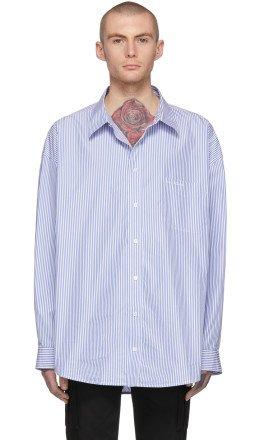 Balenciaga - Blue & White Striped Oversized Shirt