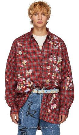 Vetements - Red Check Sticker Shirt