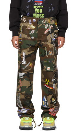 Vetements - Green Camo Sticker Cargo Pants