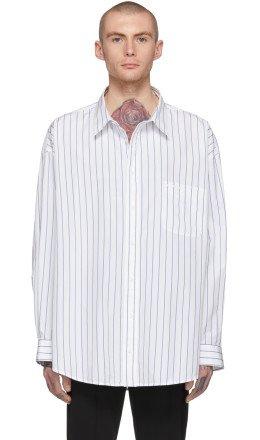 Balenciaga - White & Blue Oversized Pinstripe Shirt