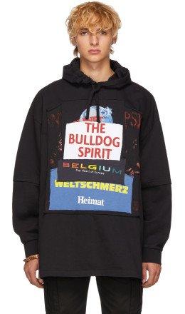 Vetements - Black 'The Bulldog Spirit' Patchwork Hoodie