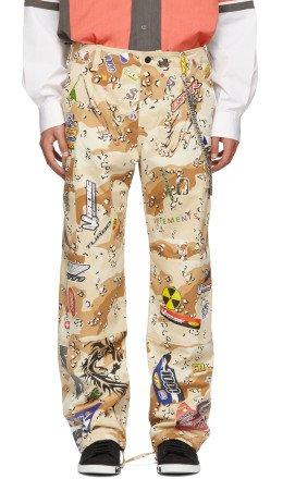 Vetements - Beige Camo Sticker Cargo Pants