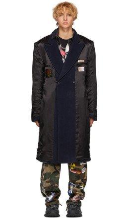 Vetements - Black & Navy Oversized Inside Out Coat