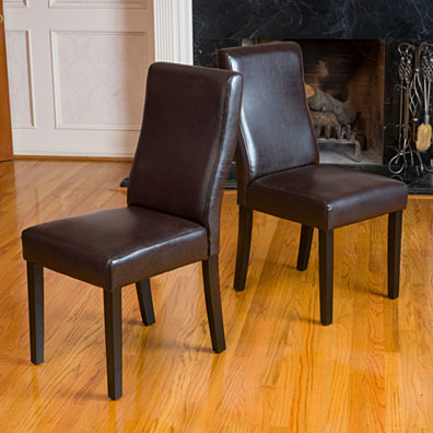 Heath Brown Leather Dining Chairs (Set of 2)