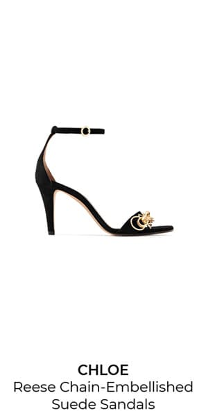 8ee2c592f ... CHLOE Reese Chain-Embellished Suede Sandals