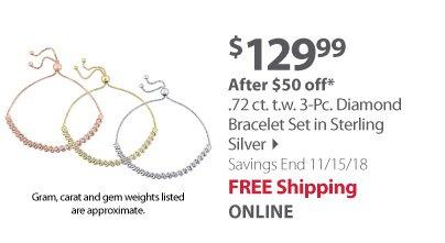 .72 ct. t.w. 3-Pc. Diamond Bracelet Set in Sterling Silver
