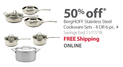 BergHOFF Stainless Steel Cookware Sets - 4 OR 6-pc