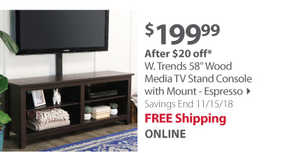 W. Trends 58 Wood Media TV Stand Console with Mount - Espresso