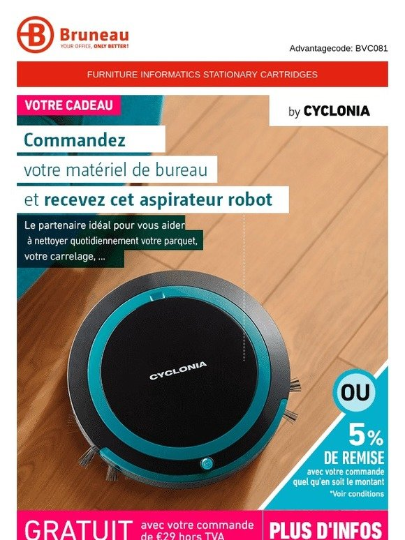 Robot Aspirateur Cyclonia Bruneau : Robot Aspirateur Ultra Slim Black