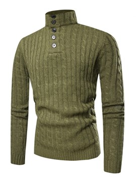 6fa57a6d98 Ericdress Plain Slim Quarter Zip Mens Casual Pullover Sweaters