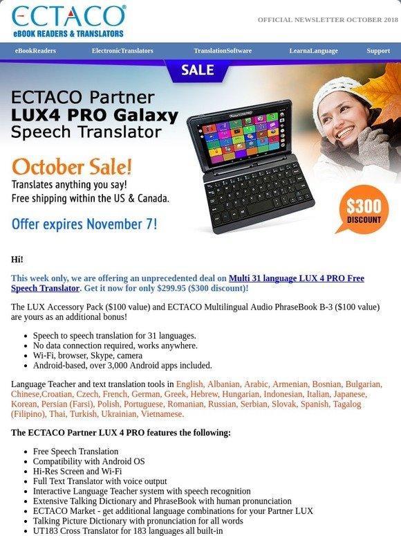 Ectaco UK: USD300 OFF Ectaco LUX4 PRO Speech to Speech Translator