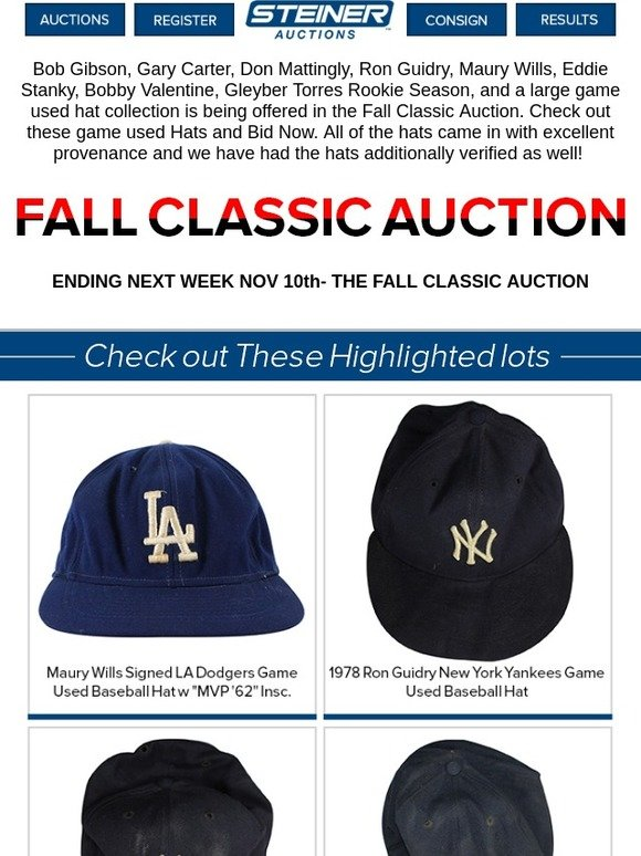 adb72d5e Steiner Sports: OVERLOOKED Game Used Hat Collection in Auction | Milled