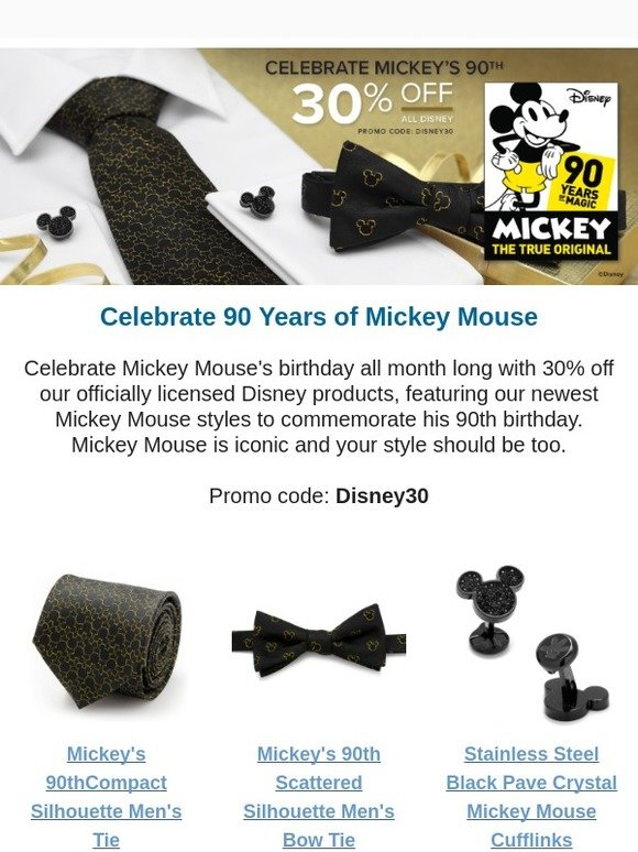 Disney Mickeys 90th Anniversary Compact Silhouette Mens Tie Officially Licensed