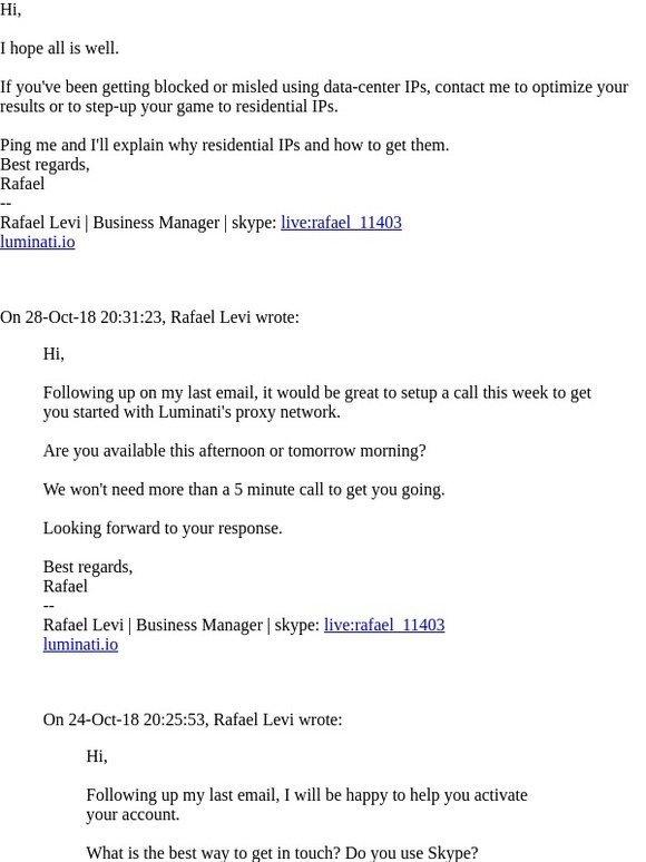 Luminati: Re: Luminati Proxy Network - welcome! | Milled
