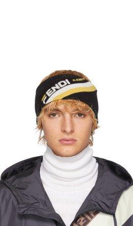 Fendi - Black Wool 'Fendi Mania' Headband